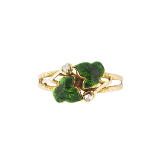 A Green Enamel Ivy and Diamond Ring - image 1