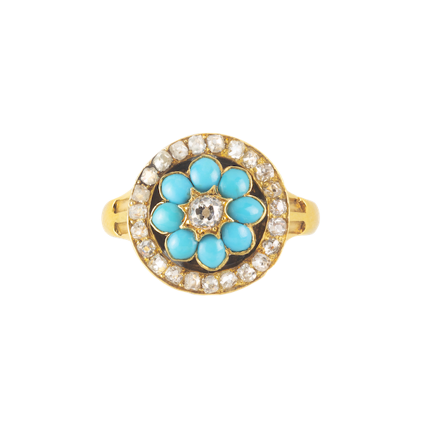 A Turquoise and Diamond Gold Ring - image 1
