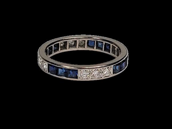 Art deco sapphire and diamond eternity ring sku 4873  DBGEMS - image 1