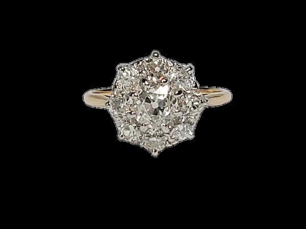 Antique diamond cluster engagement ring sku 4874  DBGEMS - image 1