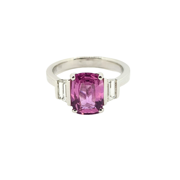 Pink Sapphire and Diamond ring in 18ct white gold - image 1