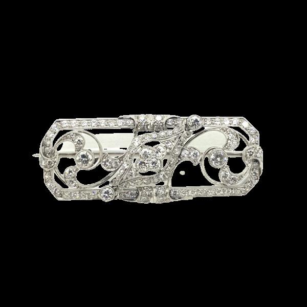 Platinum Art Deco Lozenge brooch - image 1