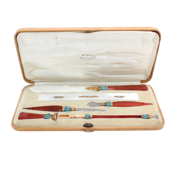 Russian carnelian, turquoise and mother of pearl gold mounted desk set by Hahn, St. Petersburg , c.1890 - image 1
