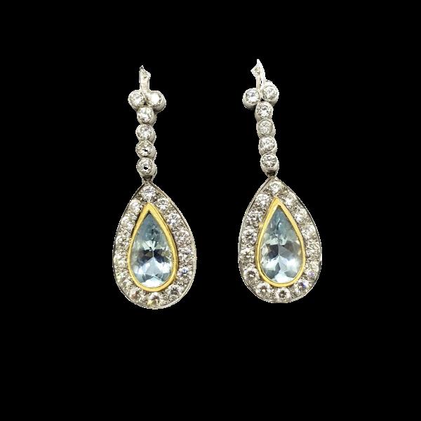 Aquamarine and Diamond Earrings - image 1