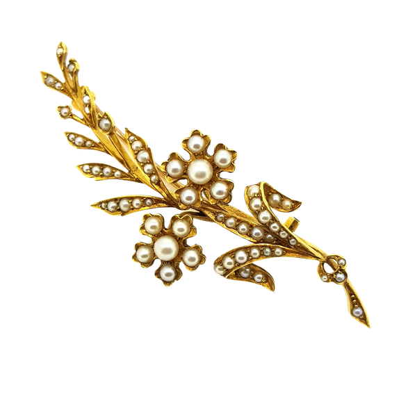 Antique Pearl Brooch - image 1
