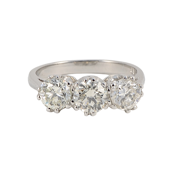 Three stone Diamond Ring in Platinum date circa 1960 SHAPIRO & Co since1979 - image 1