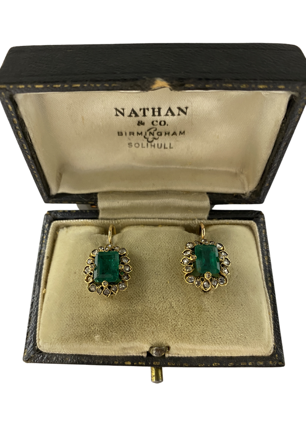 Natural Columbian Emerald and Rose Diamond Earrings. Emeralds Certified as Natural with moderate clarity enhancement. - image 1