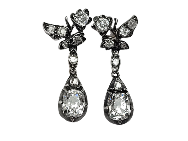 Antique diamond drop earrings SKU 4882  DBGEMS - image 1