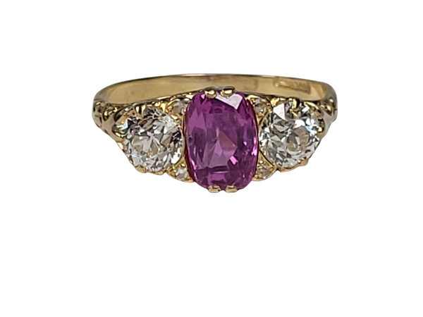 Antique hot pink sapphire and diamond ring sku 4878  DBGEMS - image 1