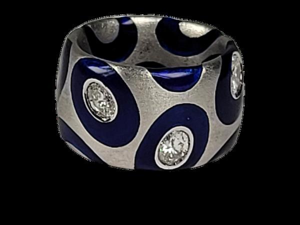 Bonkers modern enamel and diamond ring sku 4885  DBGEMS - image 1