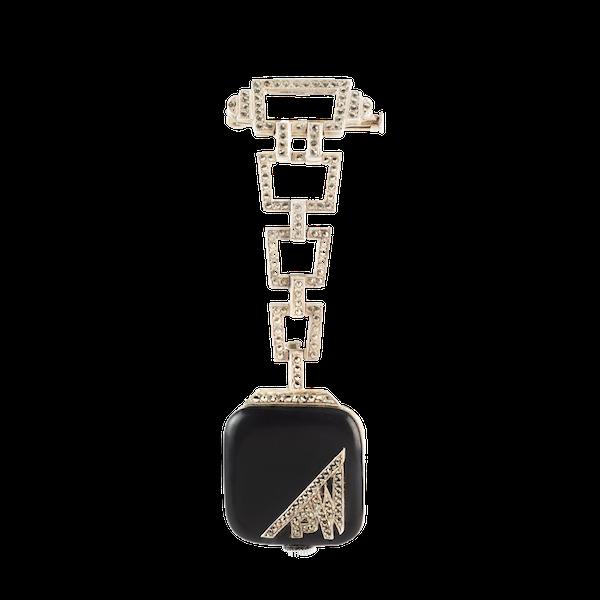 An Art Deco Silver Marcasite Enamel Watch Brooch - image 1