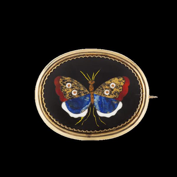 A Nine Carat Gold Pietra Dura Butterfly Brooch - image 1