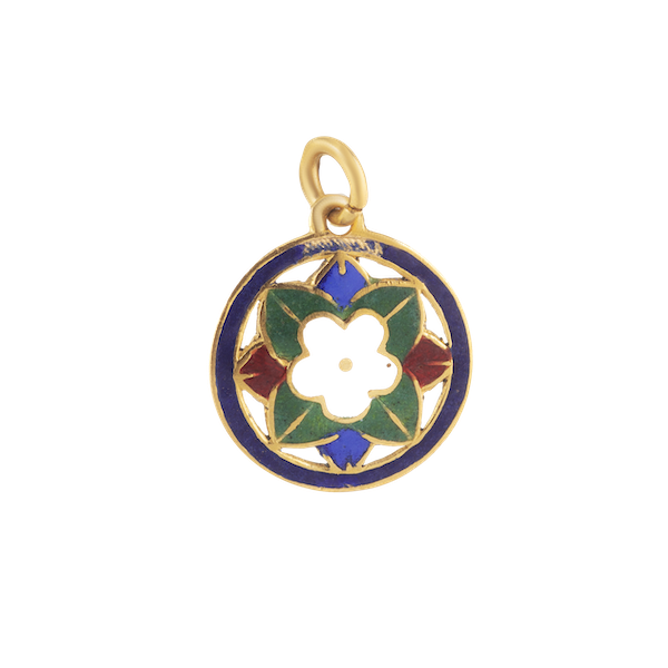 A Gold and Enamel Pendant - image 1