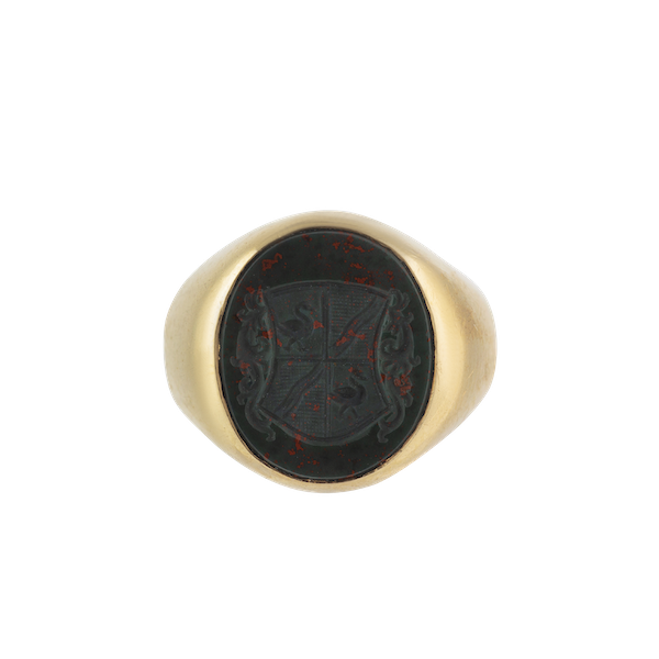 A Gold Bloodstone Signet Ring - image 1