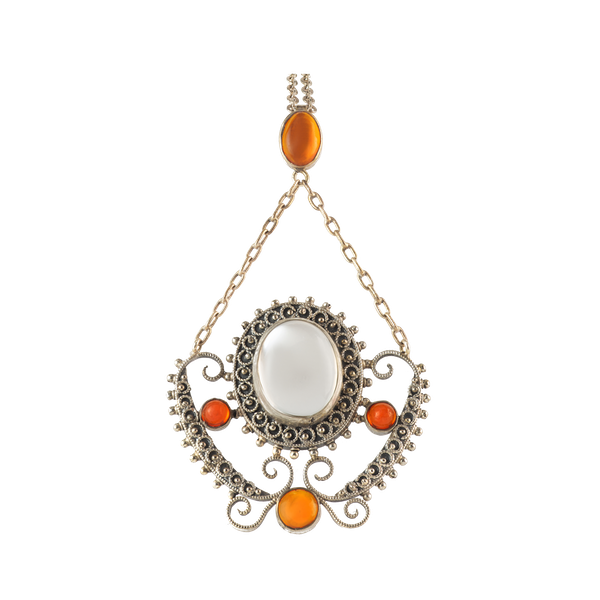 A Moonstone Fire Opal Silver Necklace - image 1