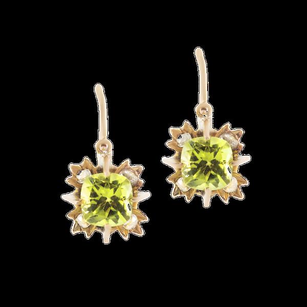 A Pair of Gold Peridot Diamond Drop Earrings - image 1