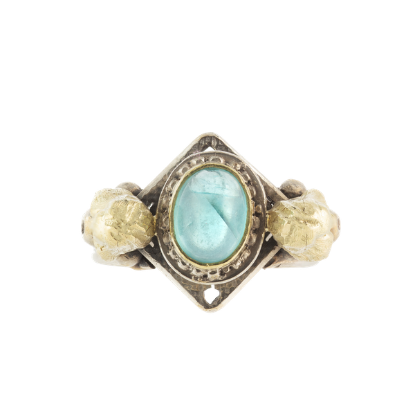 A Silver and Gold Egyptian Revival Ring - image 1