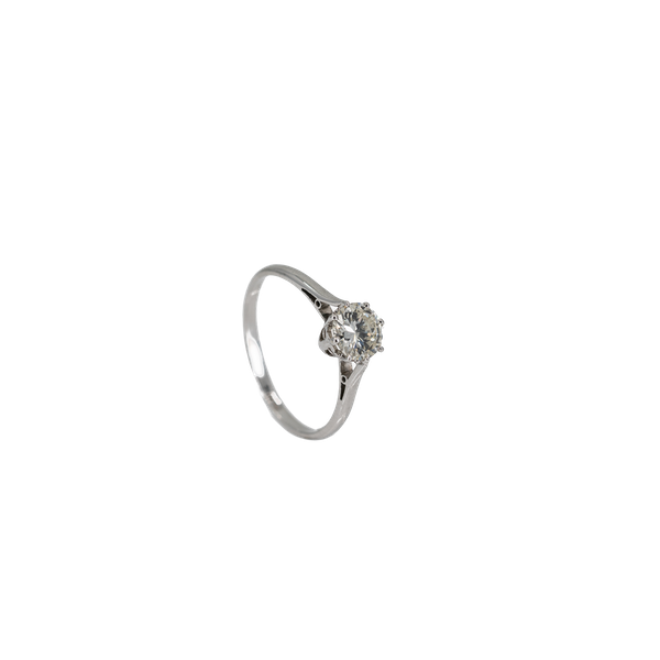 A Solitaire Diamond Ring Set with a .97cts Brilliant Cut Diamond Offered by The Gilded Lily - image 1