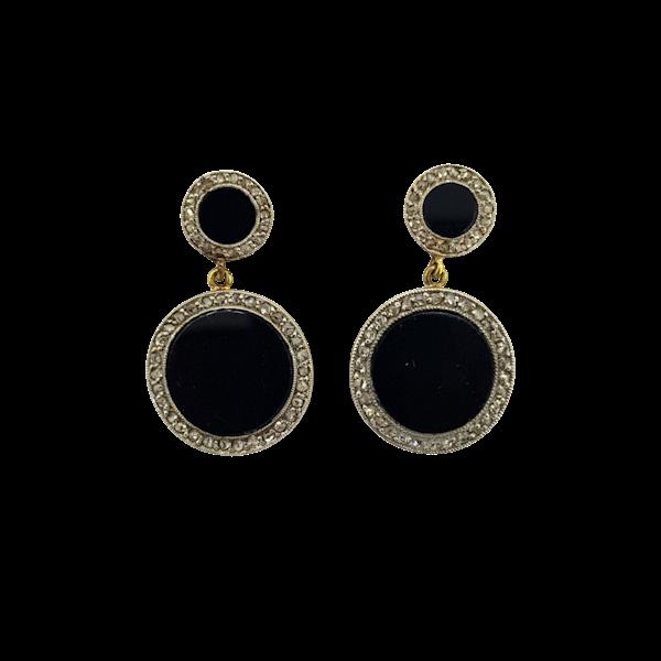 Art Deco Onyx and diamond earrings - image 1