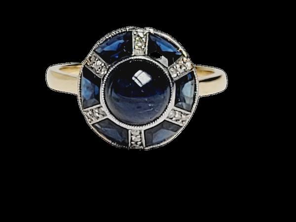 Art deco sapphire and diamond ring sku 4889 - image 1