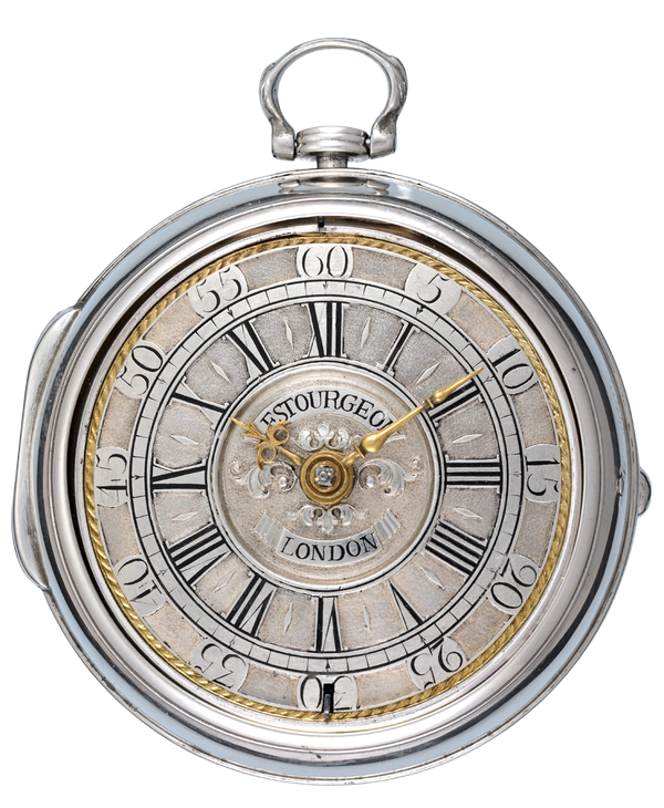 SILVER CHAMPLEVE DIAL WATCH BY LESTOURGEON - image 1