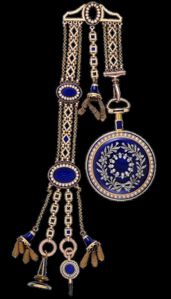 DIAMOND SET GOLD AND ENAMEL CHATELAINE WATCH - image 1