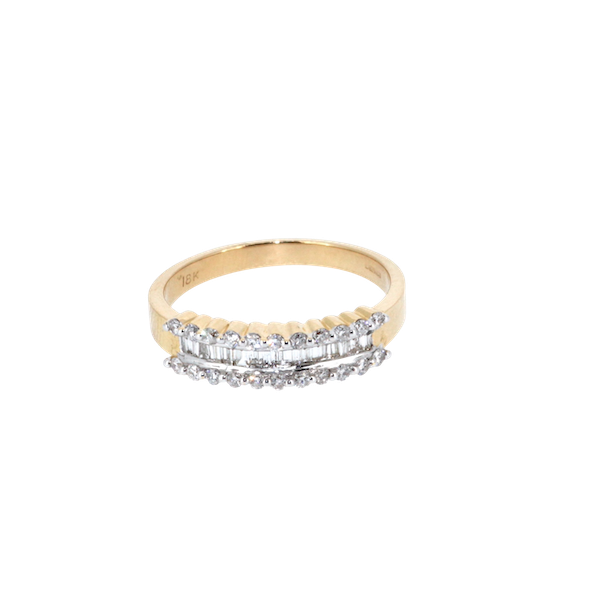 Fancy Baguette And Round Brilliant Diamond Ring.  S. Greenstein - image 1