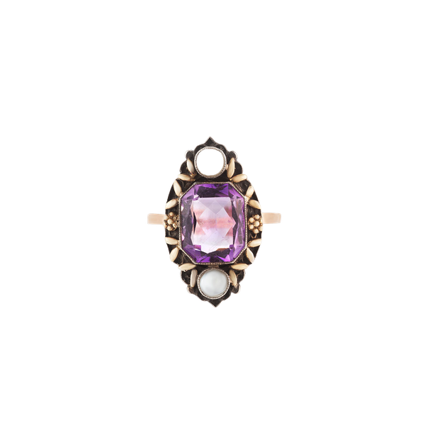 A Gold Silver Amethyst Arts & Crafts Ring by Gaskin - image 1