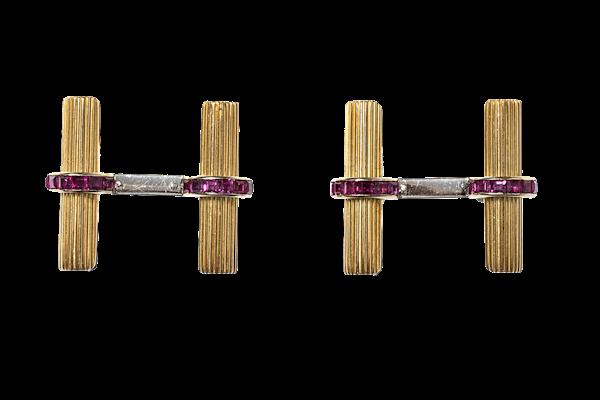 Vintage Boucheron Baton Cufflinks with Rubies circa 1950 - image 1