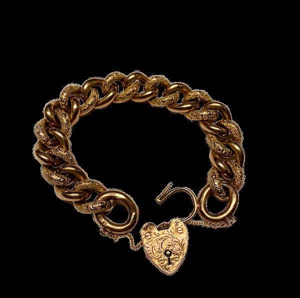 Curb engraved gold Victorian bracelet. Spectrum - image 1