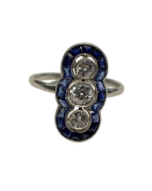 Art Deco sapphire diamond ring. Spectrum - image 1