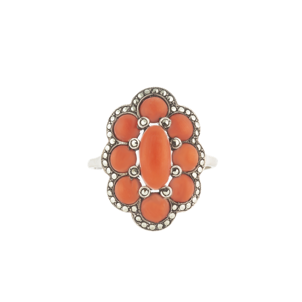 A Silver Marcasite Coral Ring - image 1