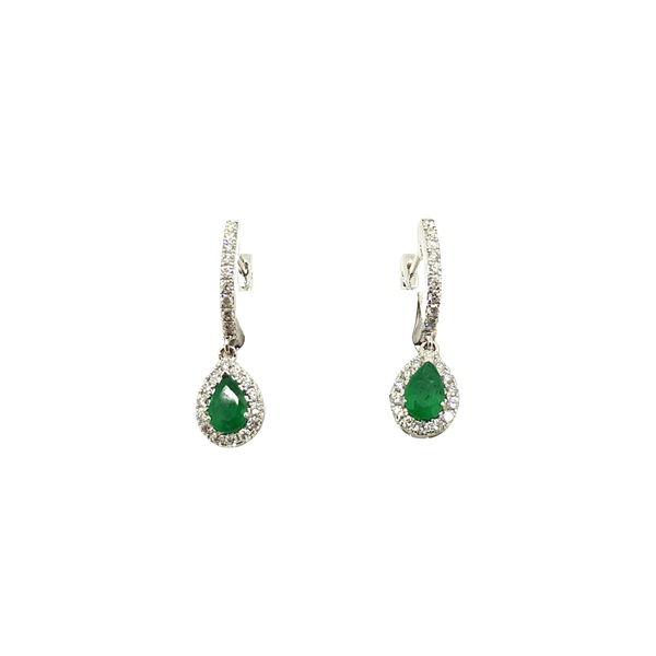 Contemporary Emerald and Diamond teardrop earrings in 18ct white gold - image 1