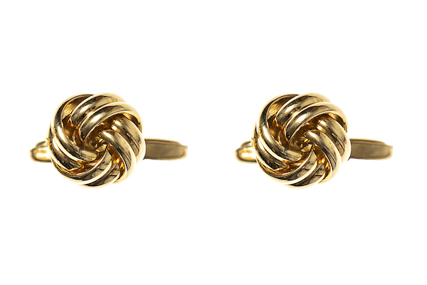 Classic Gold Knot Cufflinks with Torpedo Terminal - image 1
