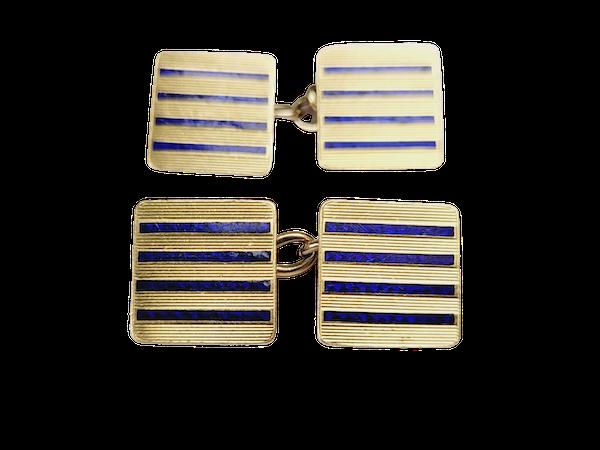 18ct gold and enamel cufflinks SKU 4912  DBGEMS - image 1