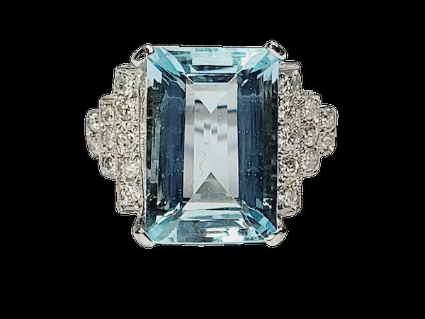 Geometric Aquamarine and diamond ring sku 4909  DBGEMS - image 1