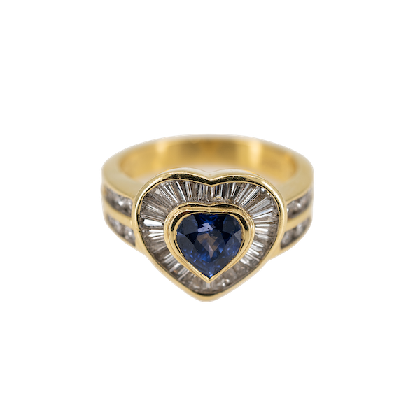 A Heart Shaped Sapphire and Diamond Ring Offered by The Gilded Lily - image 1