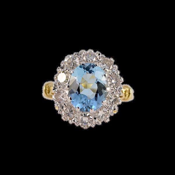 Aquamarine Diamond Cluster Ring in 18ct Yellow/White Gold date circa 1950 SHAPIRO & Co since1979 - image 1