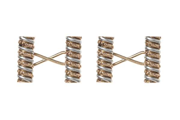 Baton Cufflinks of Spiral Design in Two Colour Gold - image 1