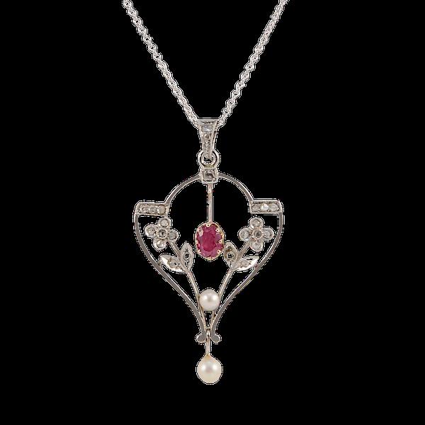 Edwardian Ruby Diamond Pearl Pendant in Platinum & 18ct Yellow Gold date circa 1900 SHAPIRO & Co since1979 - image 1