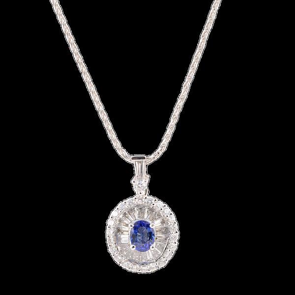 Sapphire Diamond Pendent in 18ct White Gold date circa 1990 SHAPIRO & Co since1979 - image 1