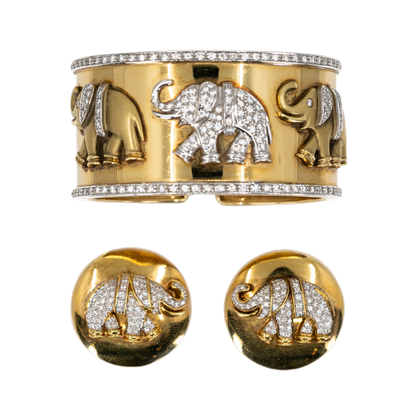 A Bangle and Earclip Suite of Stylised Elephant design Offered By The Gilded Lily - image 1