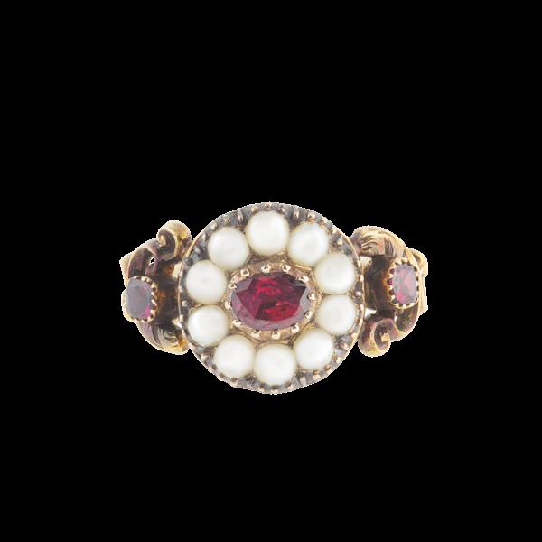 A Georgian Gold Garnet and Pearl Ring - image 1