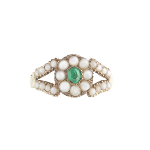 A Georgian Pearl and Emerald Gold Ring - image 1