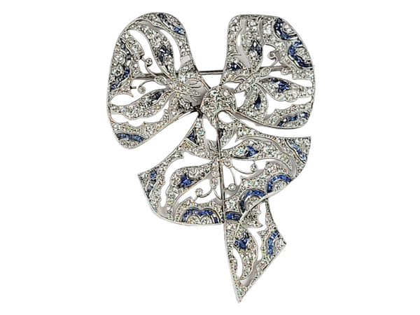 Belle epoque French sapphire and diamond bow with subliminal butterfly design sku 4924 DBGEMS - image 1