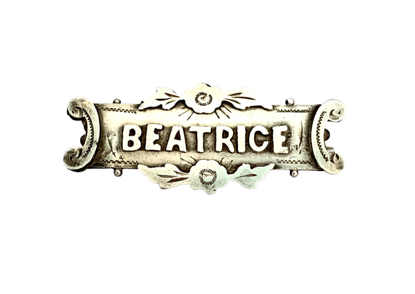 Beatrice Victorian silver name brooch. Spectrum - image 1