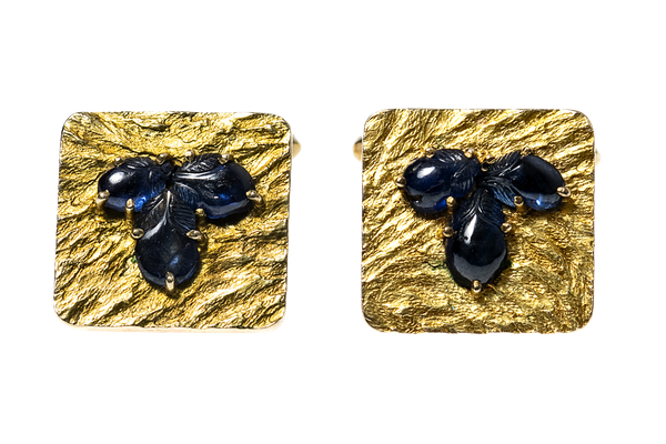 Vintage Gold Cufflinks with Sapphires & Textured Finish - image 1