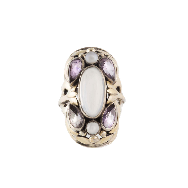 A Moonstone, Amethyst, Natural Pearl Silver Ring by Bernard Instone - image 1