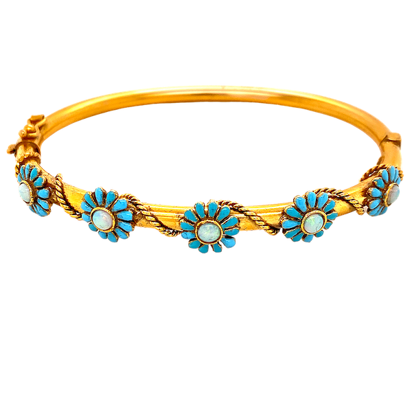 A Very Pretty Victorian Bangle with Enamel and Opals Ca1880 - image 1