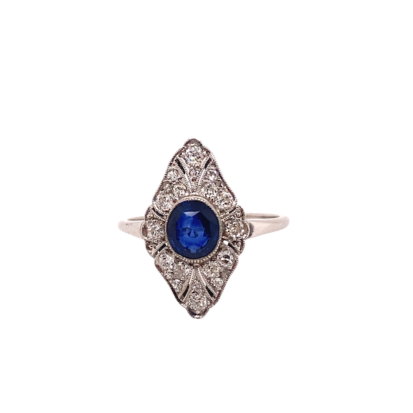Art Deco Sapphire and Diamond Marquise Shaped Ring Ca1920-35 - image 1